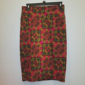 LuLaroe Cassie Skirt Green/Red/Gold Size Small